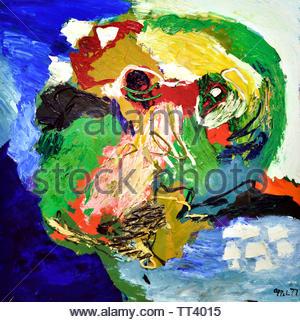 Visage Paysage no 9 by Karel Appel born in 1921 Dutch painter, (sculptor,  poet, Avant-garde movement Cobra), The, Netherlands. - Stock Image