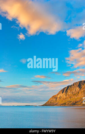 The village Elgsnes indre and mountain Elgen seen from Nupen near Harstad  on island Hinnøya in northern Norway. - Stock Image