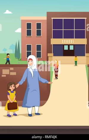 A vector illustration of Muslim Mother with her Daughter in School - Stock Image