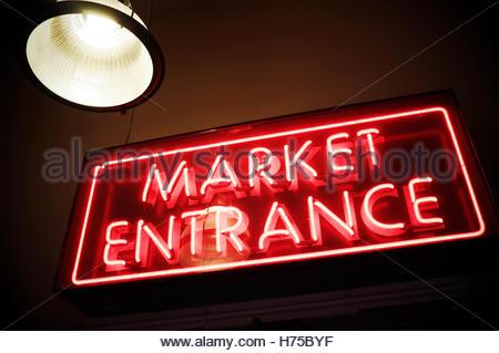 Illuminated sign for Market Entrance, at Pike Place Market, Seattle, Washington State, USA. - Stock Image