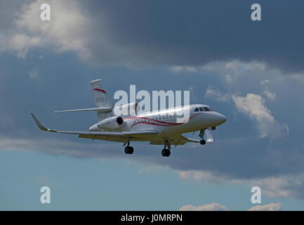 French built Dassault Falcon 900X Business Jet Aircraft arriving at Inverness Dalcross Airport. Highland Region - Stock Image