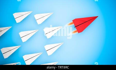 Leading concept with paper planes: Red paper plane flying the fastest. 3d rendering - Stock Image