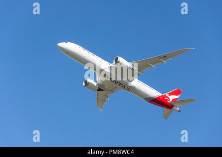 Qantas Airways Boeing 787-9 Dreamliner aircraft taking off from Heathrow Airport, Greater London, England, United Kingdom - Stock Image
