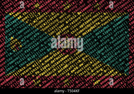 Grenada flag  is depicted on the screen with the program code. The concept of modern technology and site development. - Stock Image