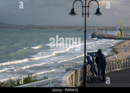 People at viewpoint in Burgas Sea Garden, Burgas, Bulgaria - Stock Image