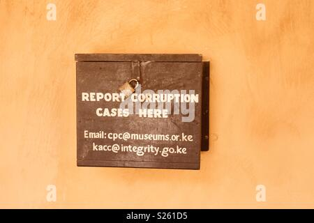 Report corruption cases box in Lamu Island, Kenya - Stock Image