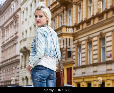 Portrait of young woman in Prague - Stock Image
