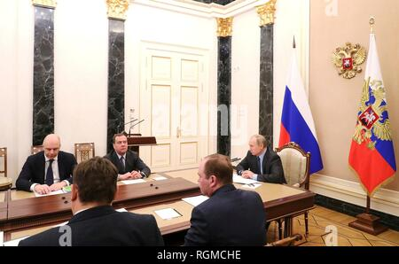 Russian President Vladimir Putin, right, during a meeting with senior government officials at the Kremlin January 30, 2019 in Moscow, Russia. - Stock Image