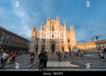 Horizontal view of Milan cathedral in Milan, Italy. - Stock Image