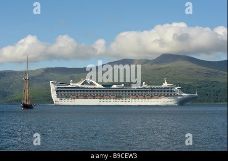 Cruise ship Grand Princess in the Sound of Mull, Scotland, in June 2008. - Stock Image