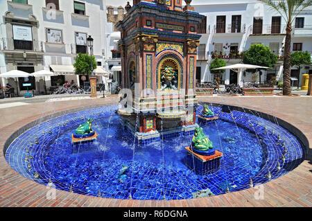 Ceramic Tile Water Feature In The Plaza De Espana, Vejer De La Frontera, Costa De La Luz, Province Of Cadiz, Andalusia - Stock Image