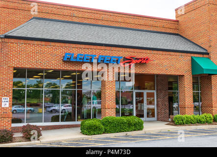 HICKORY, NC, USA-21 JUNE 18:  Fleet Feet Sports owns, operates, and franchises a chain of specialty stores that serve runners, walkers. - Stock Image