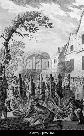 Thirteen Protestant Martyrs Burnt together at Stratford Essex. Engraving from c 1780 edition of The New Book of - Stock Image