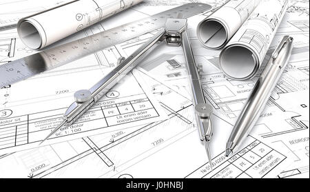 Generic Architectural blueprints, drawings and sketches. Paper Rolls, Ruler, Pen and Divider of metal. 3D render. - Stock Image