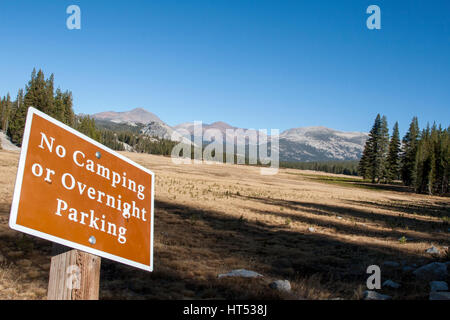 A view of Tuolomne Meadows in autumn. Tuolomne Meadows is on Highway 120 in the Sierra Nevada Mountains of Yosemite - Stock Image