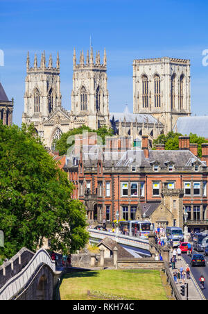 York Minster and a section of the historic city walls along Station road York Yorkshire England UK GB EU Europe - Stock Image