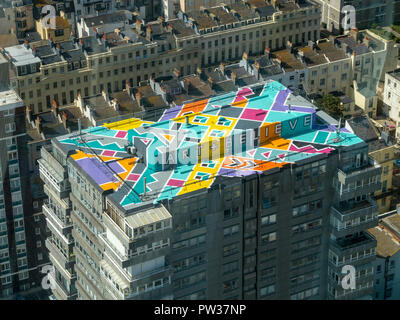 Abstract painted roof top 'Art + Believe' in Brighton as seen from British Airways i360 observation pod, Brighton, East Sussex, England, UK - Stock Image