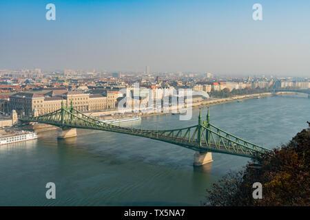 Aerial view of the Liberty Bridge bridge at Budapest, Hungary - Stock Image