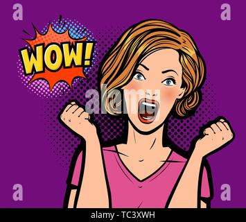 Sexy surprised woman. Wow, vector pop art retro comic style - Stock Image