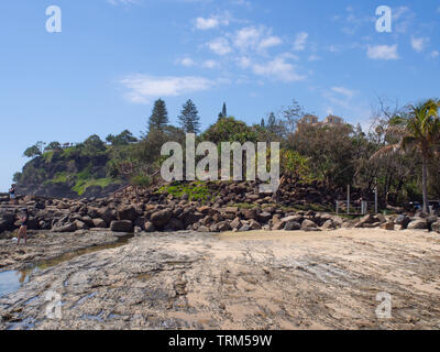 Rocky Beach At Tweed Heads - Stock Image