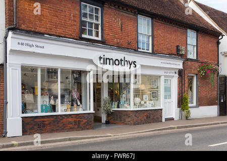 Timothys home interiors store on High Street in the small town of Fordingbridge, Hampshire. - Stock Image