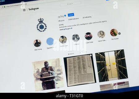 The instagram account of GCHQ, the Government Communications Headquarters. - Stock Image