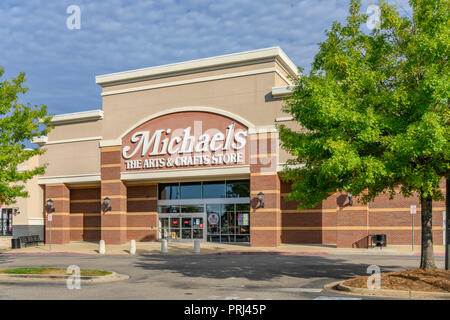 Front exterior entrance of Michael's arts and crafts retail big box store showing the sign and logo, in Montgomery Alabama, USA. - Stock Image