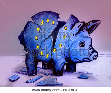 European Union flag on broken piggy bank - Stock Image