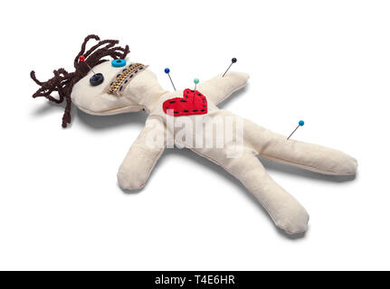 Voodoo Doll with Needles Isolated on White Background. - Stock Image
