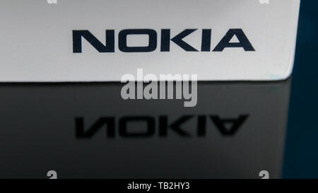 Cluj, Romania - May 13, 2019: Nokia logo on a smartphone box made by Nokia Corporation, a telecommunications, information technology, and consumer ele - Stock Image