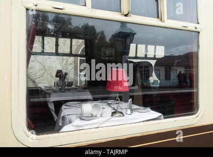 Pullman dining carriage at Grosmont station. North York Moors Railway. North Yorkshire, England. UK - Stock Image