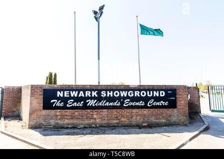 Newark Showground entrance sign, Newark Showground Nottinghamshire UK, showground, Newark, Newark Showground entrance, Newark Showground, entrance, UK - Stock Image
