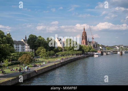River Main as it passes through Frankfurt am Main, Hesse, Darmstadt, Germant - Stock Image