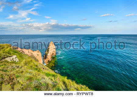 An autumn day on the English Channel near the rock at Pointe du Hoc in Normandy France, the site of battle during the D Day invasion - Stock Image