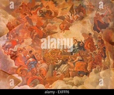 GRANADA, SPAIN - MAY 29, 2015: The fresco, Glory of lamb of God, Basilica San Juan de Dios, by Diego Sanchez Sarabia, - Stock Image