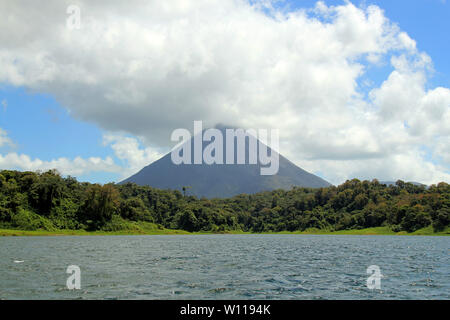 Arenal Volcano Viewed from Arenal Lake. La Fortuna, Costa Rica - Stock Image