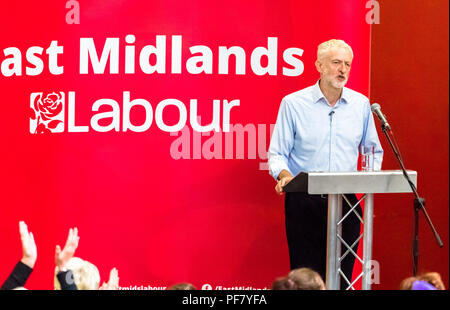 Jeremy Corbyn Leader of the Labour Party speaking at a People Powered Mass Meeting in Mansfield, Nottinghamshire - Stock Image