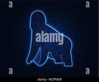 Gorilla magic low poly model, African animal polygonal wireframe vector illustration on dark blue background - Stock Image