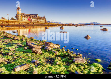 Puerto Natales, Chile - Gulf Almirante Montt, the Pacific Ocean waters in Chielan Patagonia, Magallanes Region. - Stock Image