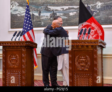 U.S. Secretary of State Michael R. Pompeo participates in a press conference with Afghanistan President Ashraf Ghani in Kabul, Afghanistan on July 9, 2018. - Stock Image