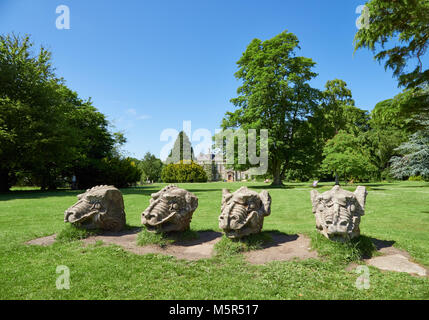 Looking at Wallington Hall from the public road that passes by it. - Stock Image