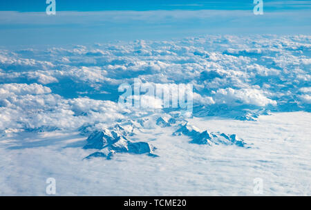 Aerial view of the Alps mountain range. - Stock Image