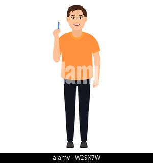 The guy holds a pen, cartoon character vector illustration - Stock Image