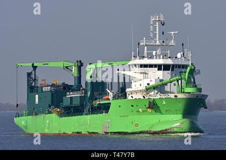 LNG-powered Hopper Dredger Scheldt River - Stock Image