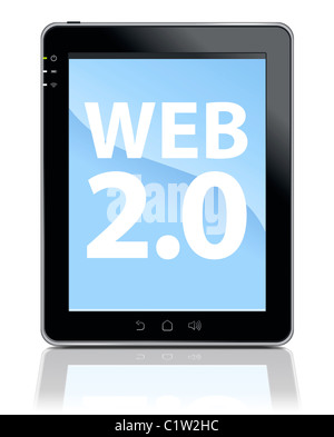 3d Illustration of Tablet PC with touchscreen LCD panel isolated on white. - Stock Image