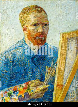 Vincent van Gogh: Self-portrait as a painter, c. 1887 - Stock Image