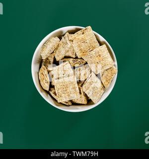 Bowl of Nestle Bitesize Shredded Wheat Healthy Eating Breakfast Cereals - Stock Image