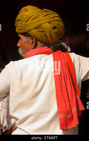 Rajasthani man at Pushkar market, Rajasthan, India - Stock Image