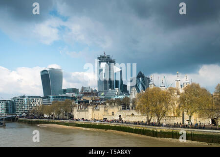 The Tower of London and iconic high rise office buildings in the background. - Stock Image