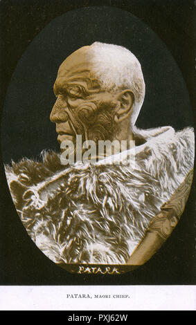 Patara, Maori Chieftain, New Zealand.     Date: 1900s - Stock Image